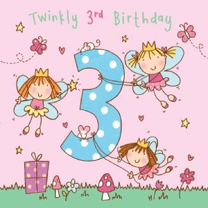 Age 3 Girls Twinkly Birthday Card